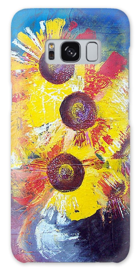 Flowers Galaxy Case featuring the painting Sunflowers In Blue Vase by Valerie Wolf
