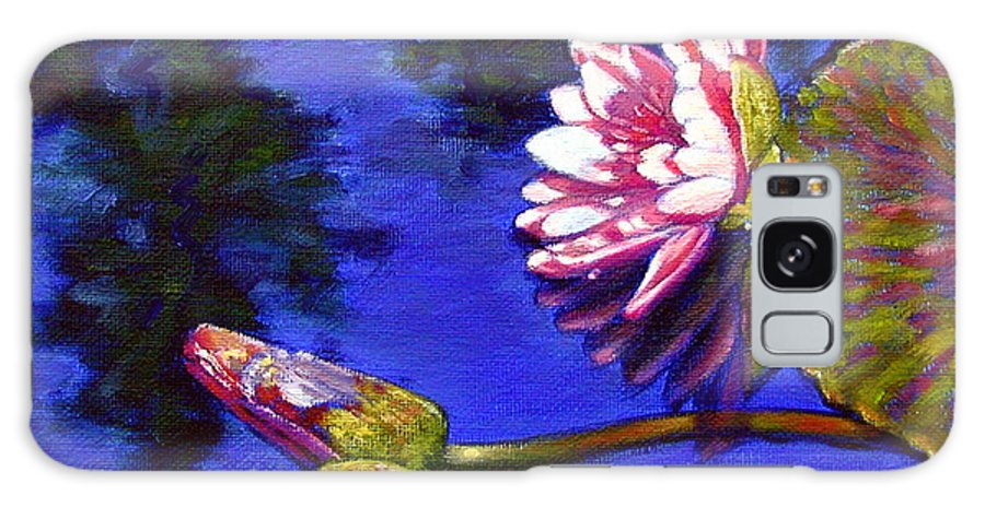 Water Lily Galaxy S8 Case featuring the painting Sunlight On Pink by John Lautermilch