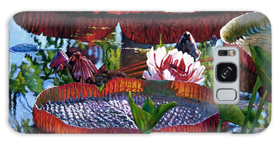 Garden Pond Galaxy Case featuring the painting Sunlight Shining Through by John Lautermilch