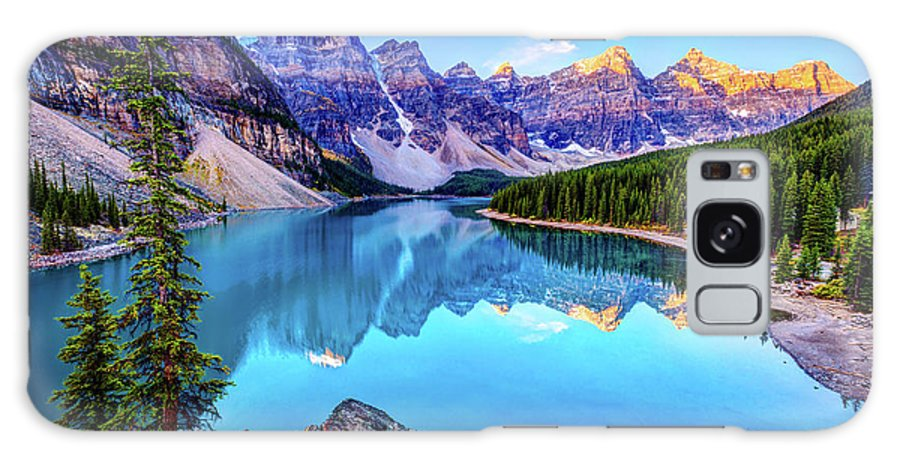 Tranquility Galaxy Case featuring the photograph Sunrise At Moraine Lake by Wan Ru Chen
