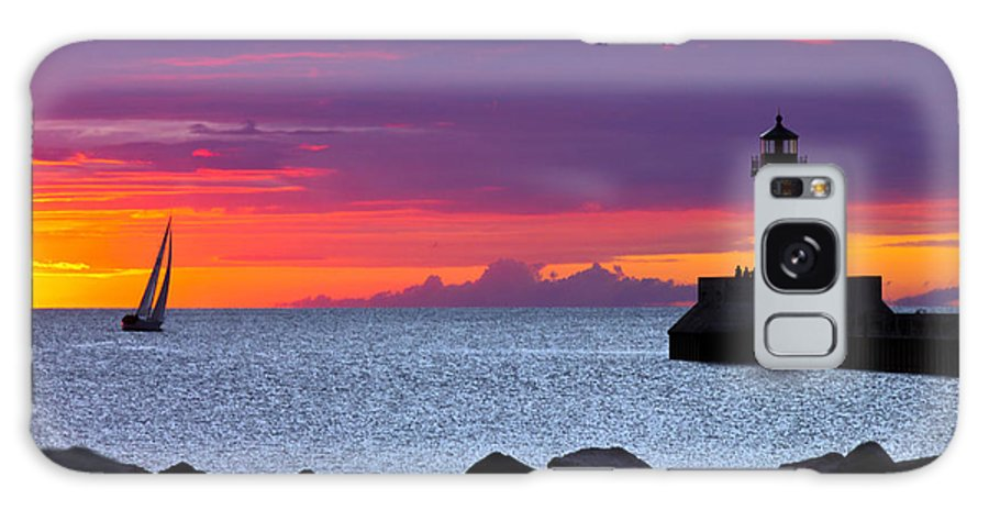 Sunrise lake Superior Sailing canal Park Lighthouse Duluth north Shore canal Park Lighthouse sail Boat Dawn Morning Magic Wow! Galaxy S8 Case featuring the photograph Sunrise Sailing by Mary Amerman