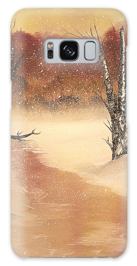 Painting Galaxy S8 Case featuring the painting Sunrise Snow by Laura Byler