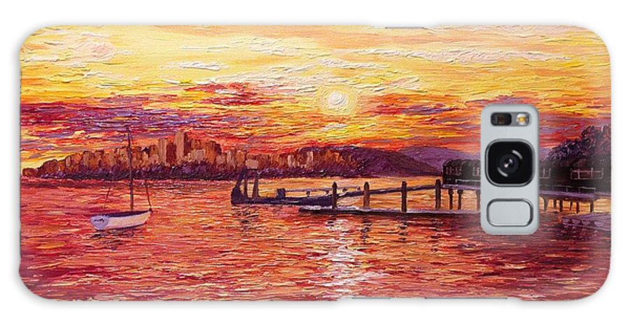 Sunset Galaxy S8 Case featuring the painting Sunset At San Francisco Bay by Francesca Kee