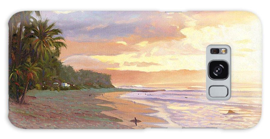 Sunset Beach Galaxy Case featuring the painting Sunset Beach - Oahu by Steve Simon