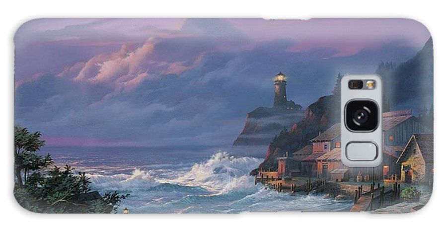 Lighthouse Galaxy S8 Case featuring the painting Sunset Fog by Michael Humphries