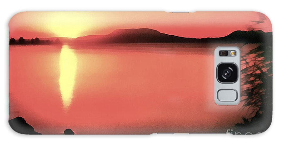 Balaton Galaxy S8 Case featuring the painting Sunset In The Balaton Lake by Odon Czintos