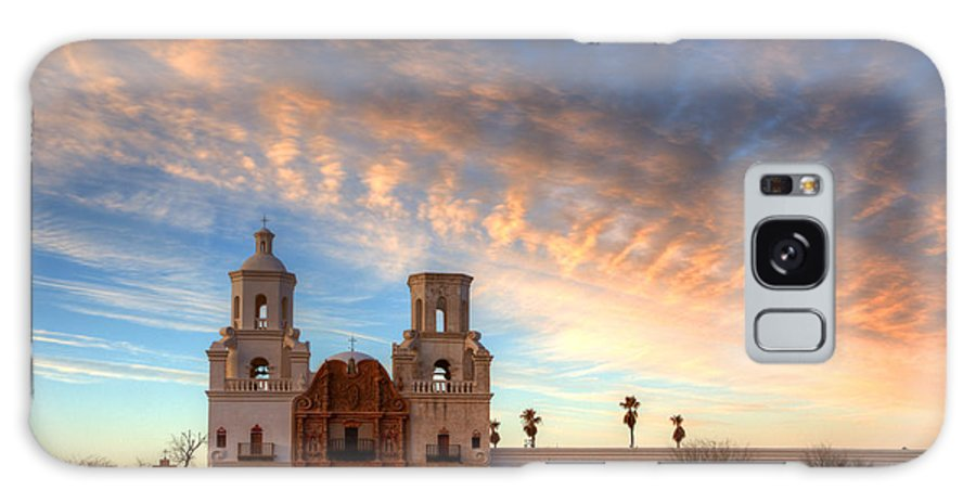 San Xavier Del Bac Mission Galaxy S8 Case featuring the photograph Sunset Majesty Mission San Xavier Del Bac by Bob Christopher