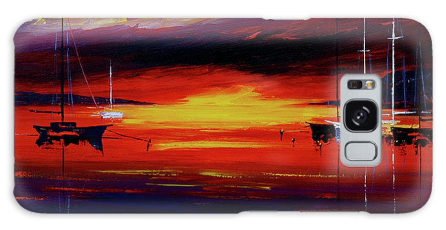 Seascapes Galaxy S8 Case featuring the painting Sunset by Miroslav Stojkovic