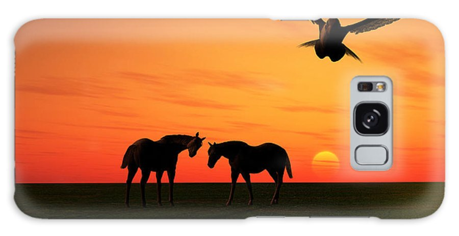 Horse Galaxy S8 Case featuring the mixed media Sunset Silhouettes Four by Mark Connor
