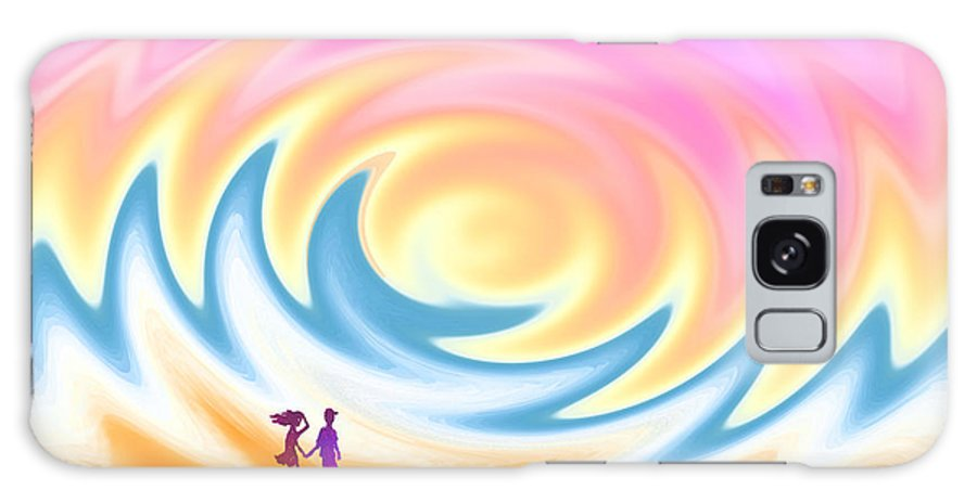 Sunset Galaxy S8 Case featuring the digital art Sunset Stroll On A Windy Beach by Ginny Schmidt
