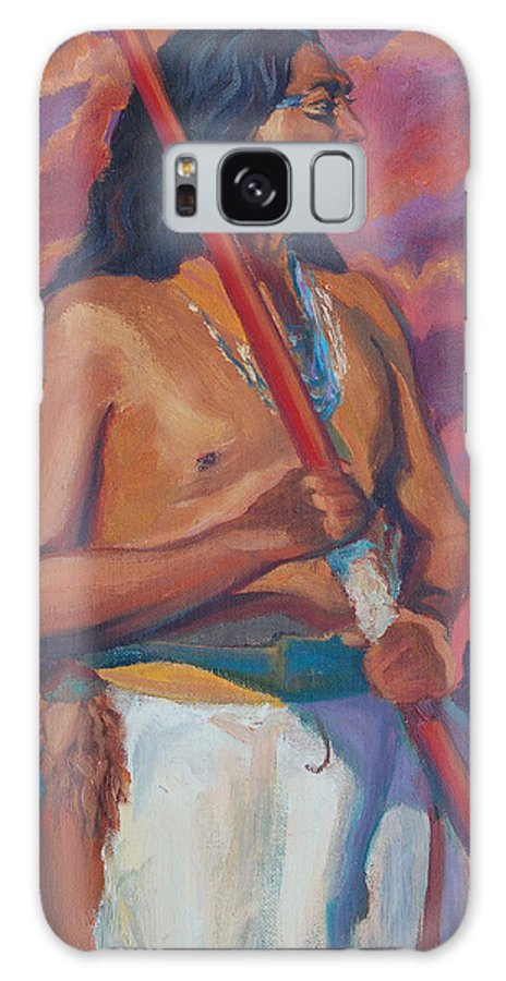 Chief Galaxy S8 Case featuring the painting Sunset Warrior by Christine Lytwynczuk