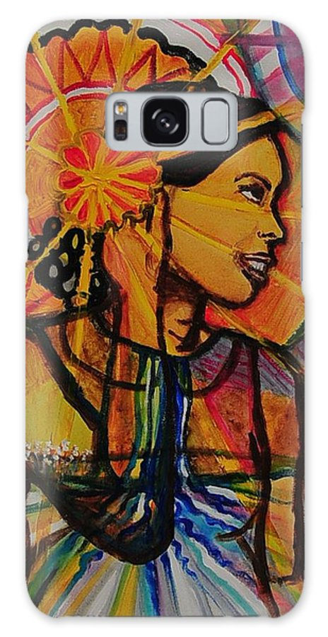 Woman Galaxy S8 Case featuring the painting Sunshine Over Lake Water by Arianne Lequay