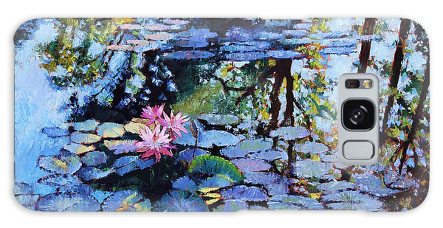 Water Lilies Galaxy S8 Case featuring the painting Sunspots On The Lilies by John Lautermilch