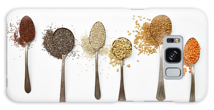 White Background Galaxy Case featuring the photograph Super Food Grains by Lew Robertson