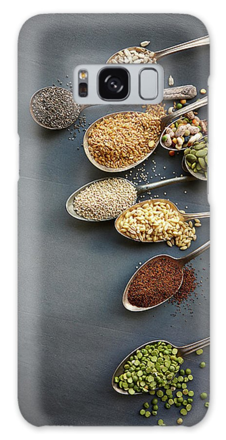 In A Row Galaxy Case featuring the photograph Super Food Grains On Spoons by Lew Robertson