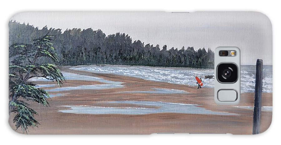 Surfer Galaxy S8 Case featuring the painting Surfer On A Rainy Day In Bc by Marsha Thornton