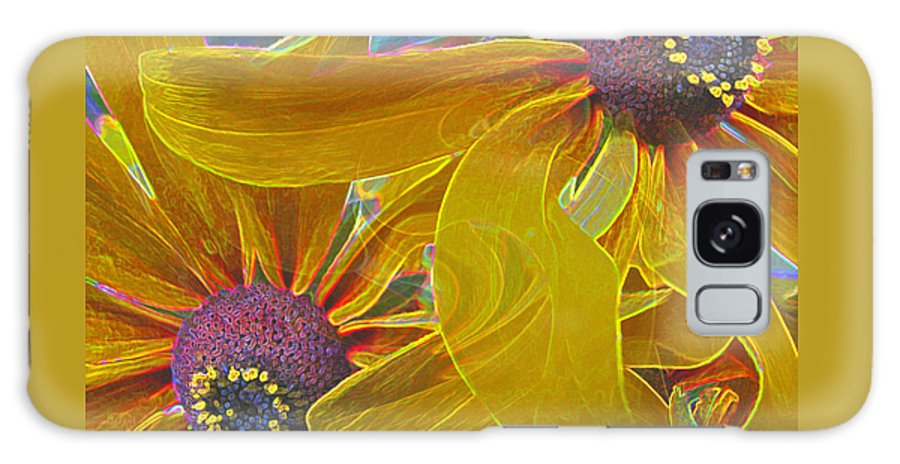 Black-eyed Susan Galaxy S8 Case featuring the photograph Susan's Extreme Make-over - Abstract Floral - Macro Black-eyed Susans by Brooks Garten Hauschild