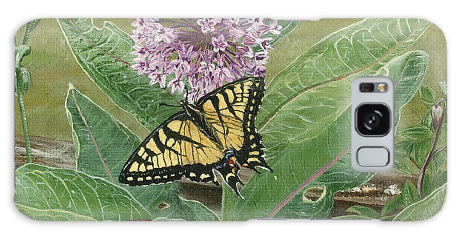 Swallowtail Galaxy S8 Case featuring the painting Swallowtail On Milkweed by Lucinda V VanVleck