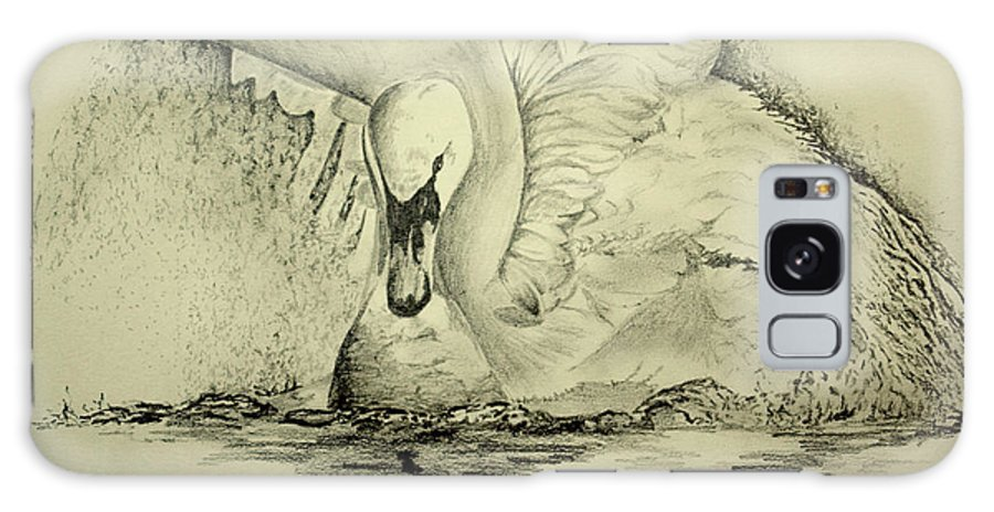 Swan Galaxy S8 Case featuring the drawing Swan Landing by Alan Pickersgill