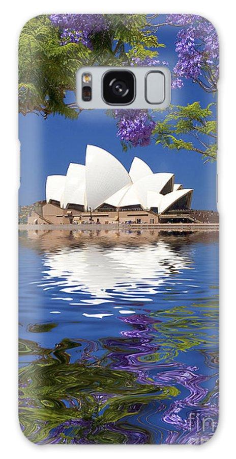 Sydney Opera House Galaxy Case featuring the photograph Sydney Opera House with jacaranda reflection by Sheila Smart Fine Art Photography