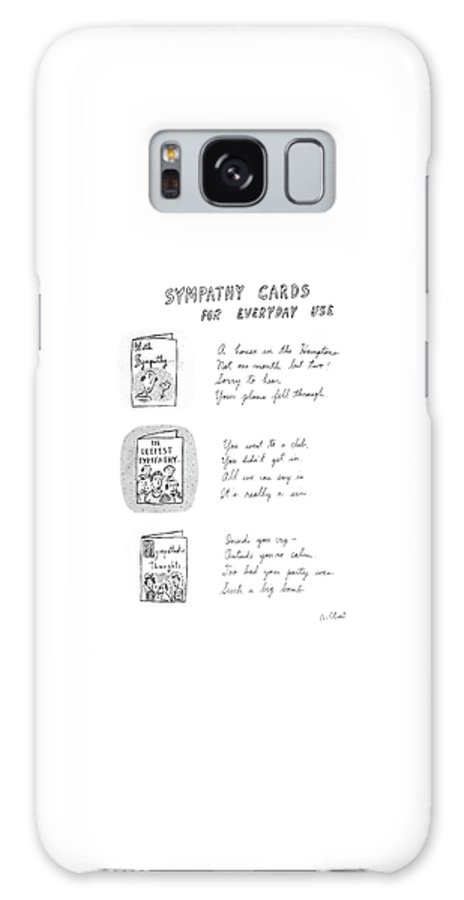 Sympathy Cards For Everyday Use: (3) Panel Drawing Of Sympathy Cards For A Misfired Vacation In The Hamptons Galaxy S8 Case featuring the drawing Sympathy Cards For Everyday Use by Roz Chast