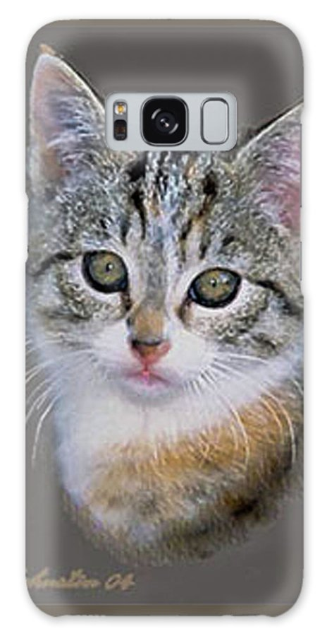 Silver Galaxy S8 Case featuring the painting Tabby Kitten An Original Painting For Sale by Bob and Nadine Johnston