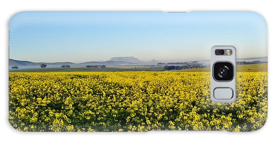 Landscape; Rape Field; Sunrise; Table Mountain; Background; Swartland; South Africa; Nature; Plants; Rural; Yellow; Green; Sky; Blue; Horizon; Galaxy S8 Case featuring the photograph Table Mountain At The Horizon by Werner Lehmann