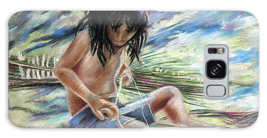 Travel Galaxy S8 Case featuring the painting Tahitian Boy With Knife by Miki De Goodaboom