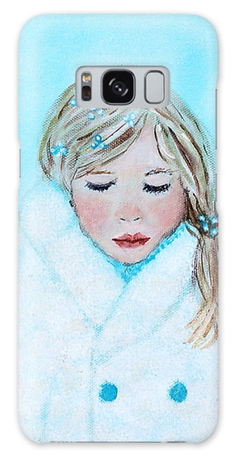 Angel Galaxy S8 Case featuring the painting Talini Little Snow Angel Bringing Warmth On Cold Days by The Art With A Heart By Charlotte Phillips