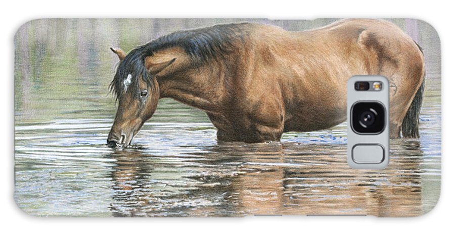 Equine Galaxy S8 Case featuring the drawing Tango On The Salt River by Helen Bailey