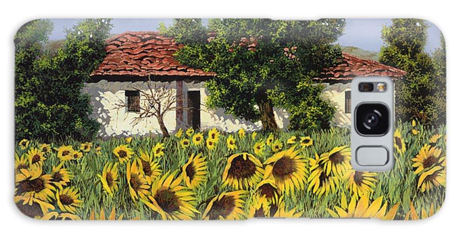 Tuscany Galaxy S8 Case featuring the painting Tanti Girasoli Davanti by Guido Borelli