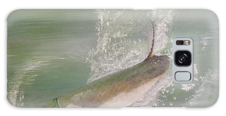 Tarpon Breaking Water Galaxy Case featuring the painting Tarpon Breaking Water by Tony Rodriguez