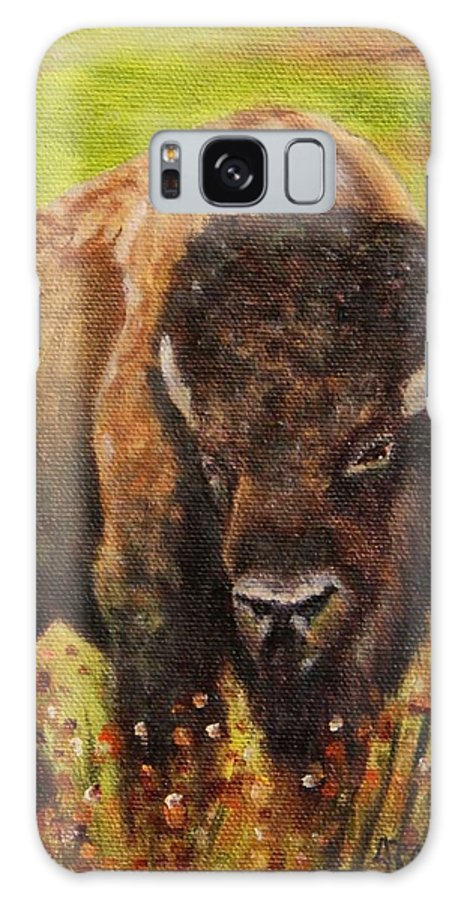 Bison Galaxy S8 Case featuring the painting Tatanka, Buffalo by Sandra Reeves
