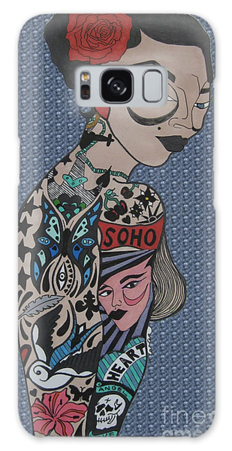 Girl Galaxy S8 Case featuring the drawing Tattoo Chic Bubble by Karen Larter