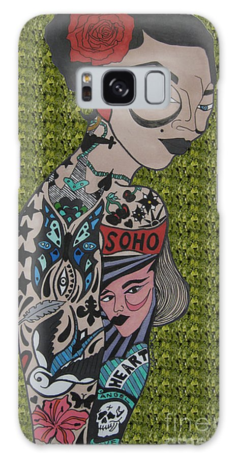 Girl Galaxy S8 Case featuring the drawing Tattoo Chic Green by Karen Larter