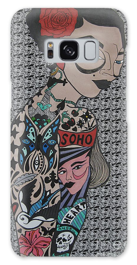 Girl Galaxy S8 Case featuring the drawing Tattoo Chic Grey Bubble by Karen Larter