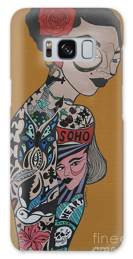 Girl Galaxy S8 Case featuring the drawing Tattoo Chic Rust by Karen Larter