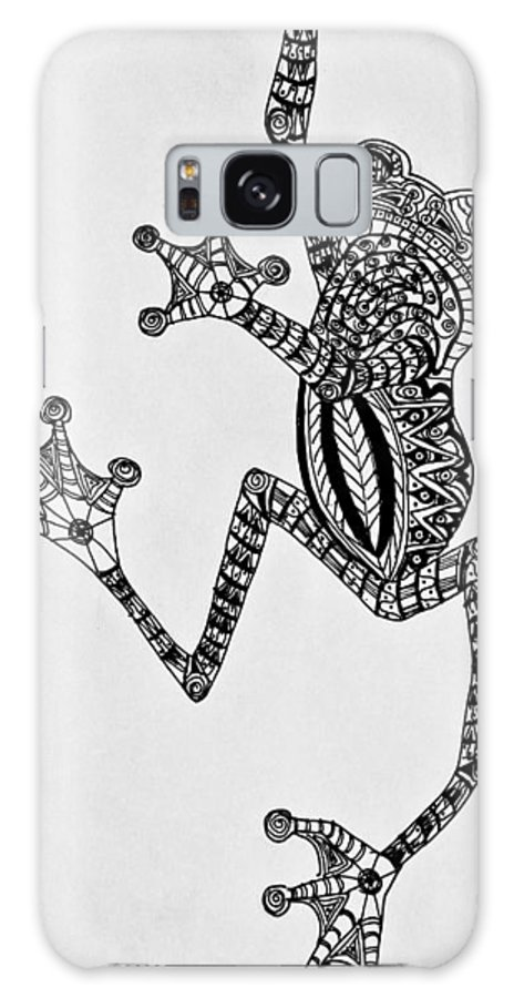 Tree Frog Galaxy S8 Case featuring the drawing Tattooed Tree Frog - Zentangle by Jani Freimann