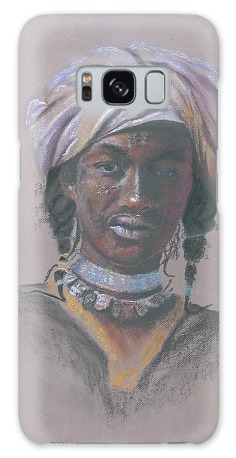 Portrait Galaxy Case featuring the painting Tchad Warrior by Maruska Lebrun