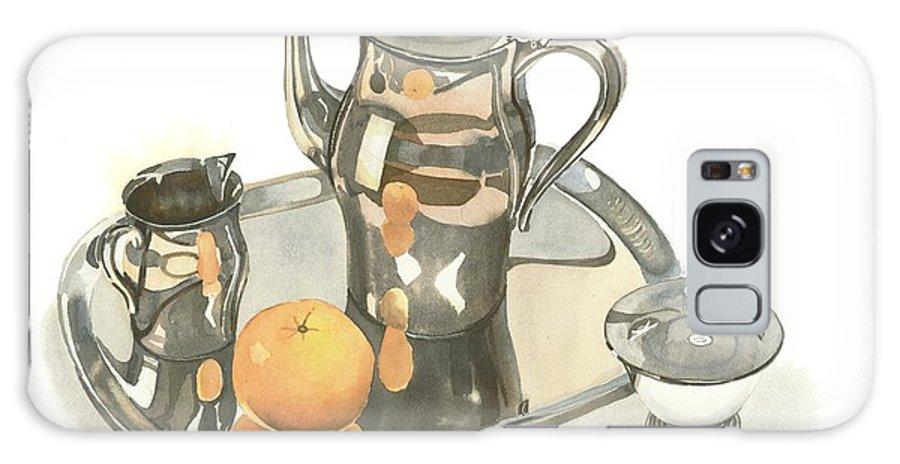 Tea Service With Orange Galaxy S8 Case featuring the painting Tea Service With Orange by Kip DeVore