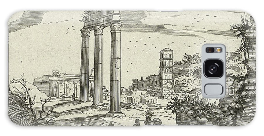 Landscape Galaxy S8 Case featuring the drawing Temple Of Castor And Pollux And The Basilica Of Constantine by Willem Van Nieulandt (ii) And Anonymous