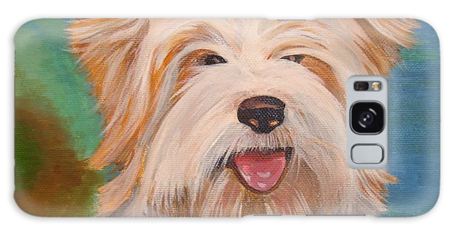 Dog Galaxy S8 Case featuring the painting Terrier Portrait by Taiche Acrylic Art