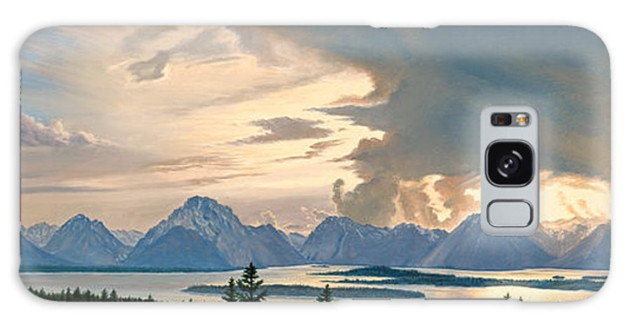Mountains Galaxy S8 Case featuring the painting Teton Range From Signal Mountain by Paul Krapf