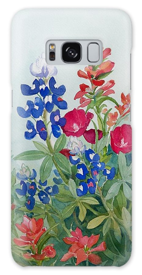 Bluebonnets Galaxy S8 Case featuring the painting Texas Wildflowers by Sue Kemp