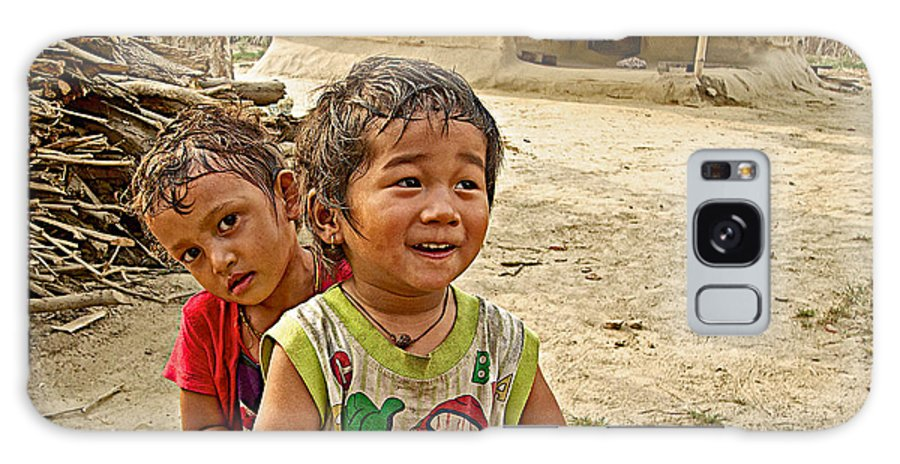 Tharu Village Children Love To Greet Us Galaxy S8 Case featuring the photograph Tharu Village Children Love To Greet Us-nepal- by Ruth Hager