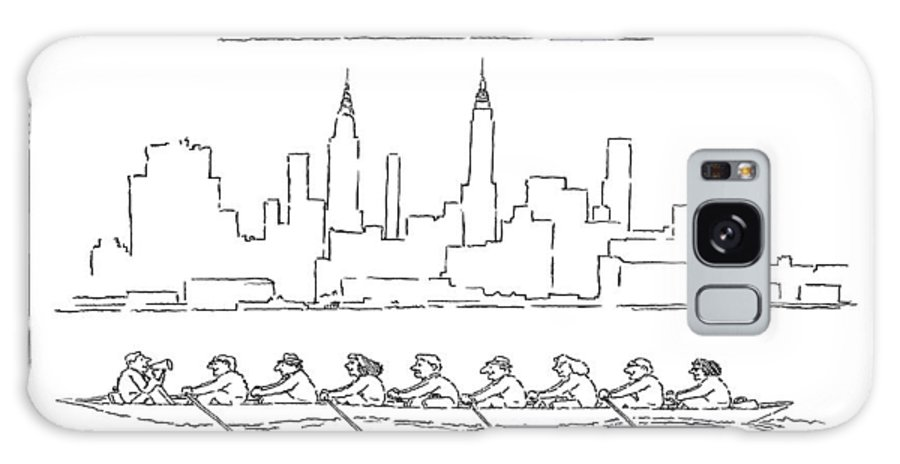 The 8:17 From Dobbs Ferry. Scull Full Of Commuters Rowing Past The Manhattan Skyline.   The 8:17 From Dobbs Ferry. Scull Full Of Commuters Rowing Past The Manhattan Skyline.  Commute Galaxy S8 Case featuring the drawing The 8:17 From Dobbs Ferry by Stuart Leeds