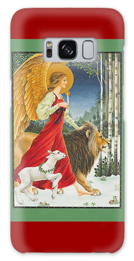 Angel Galaxy Case featuring the painting The Angel The Lion and The Lamb by Lynn Bywaters