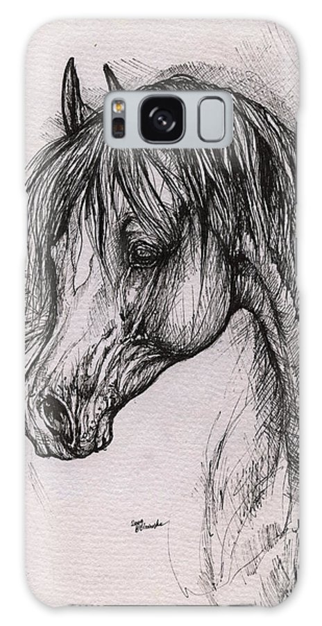 Arabian Horse Galaxy S8 Case featuring the drawing The Arabian Horse With Thick Mane by Angel Ciesniarska