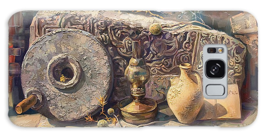 Still Life Galaxy S8 Case featuring the painting The Armenian Still-life With A Fragment Cross - Stone Armenian Khachqar by Meruzhan Khachatryan