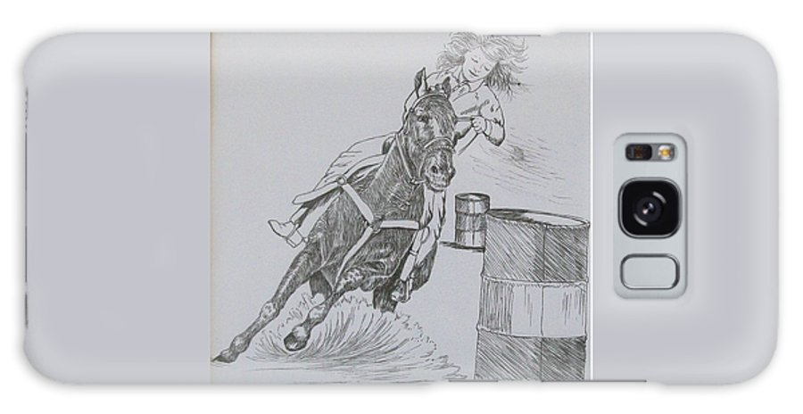 Black And Grey Black Poster Galaxy Case featuring the drawing The Barrel Racer by Wanda Dansereau